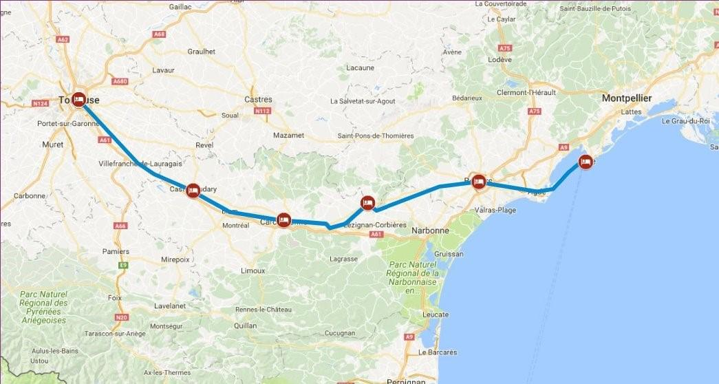 Toulouse Karte.Self Guided Cycling Holiday In France Along The Canal Du Midi