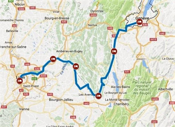 Bike tour along the Rhone river from Geneva to Lyon
